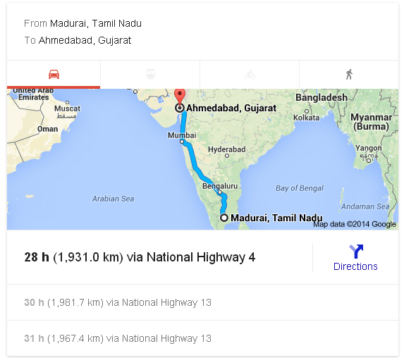 Madurai to Ahmedabad Distance_classiblogger