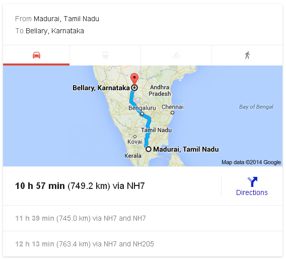 Madurai to Bellary Distance_classiblogger