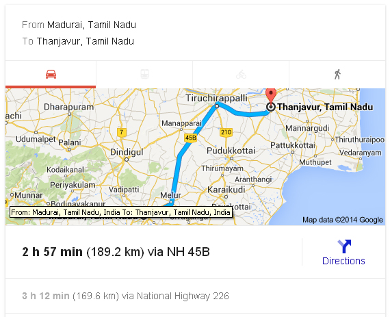 Madurai to Thanjavur Distance_classiblogger