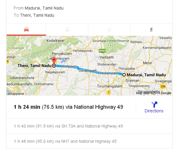Madurai to Theni Distance_classiblogger